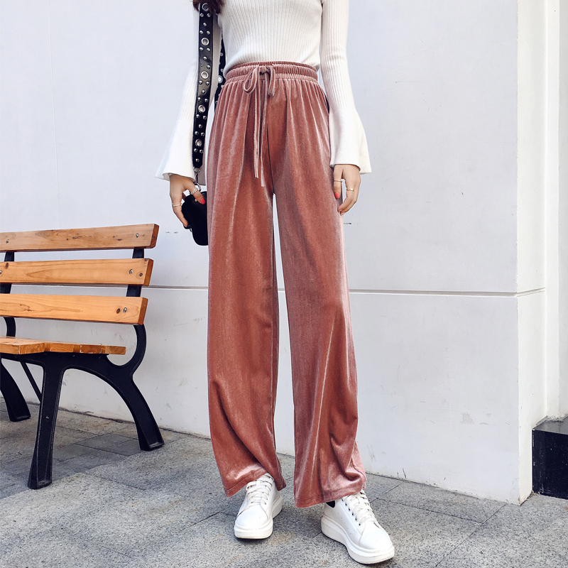 BGTEEVER Drawstring Women   Pants   Loose Spring Solid Color Baggy   Wide     Leg     Pants   Harajuku Velvet Trousers XS-XXL Dropship 2019