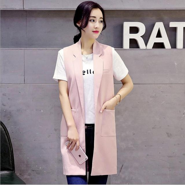 2017 summer new Women Korean fashion solid color knit sleeveless linen long sections slim suit vest jacket W195