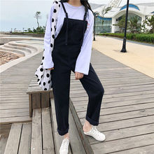 46e7b1e0d1490 S-XL 2 colors 2018 autumn loose Womens Denim Jumpsuits Overalls korean  style casual Jeans womens casual wide leg pants (Z1509)