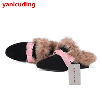 Stylish Women Winter Shoes Butterfly Knot Decor Fur Design Warm Slipper Star Runway Shoes Buckle Flower