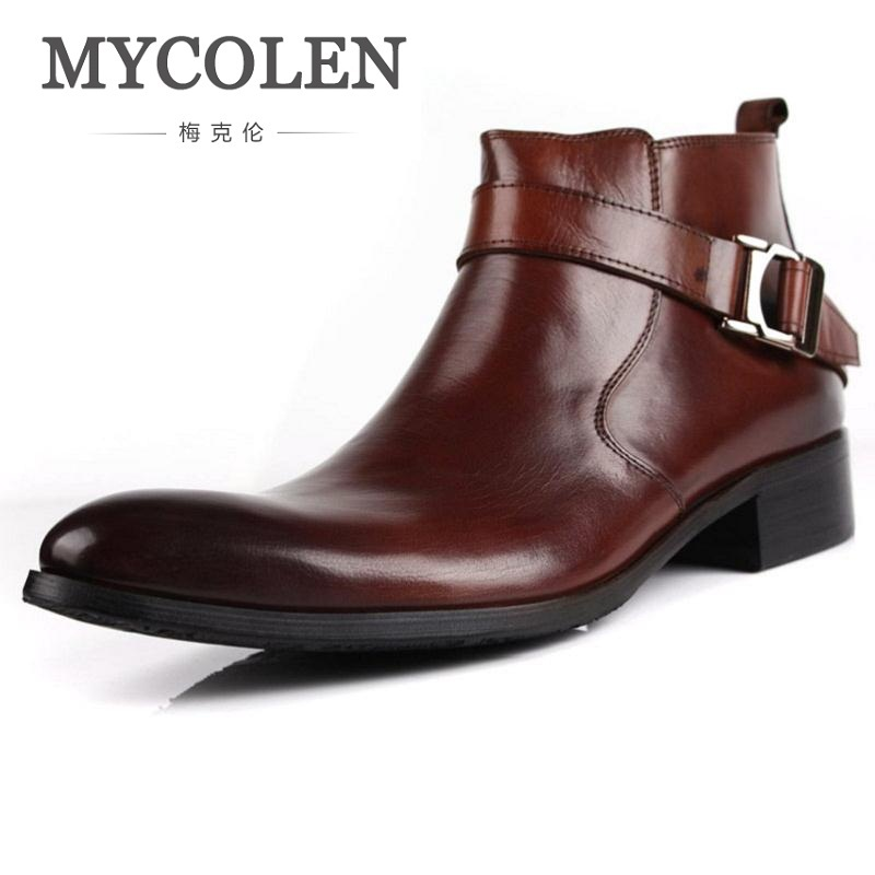 MYCOLEN Autumn Wienter New Mens Genuine Leather Boots High Heels Business Dress Anke Boots Shoes Men Pointed Toe Chelsea Boots new fashion men shoes comfortable pointed toe genuine leather for men chelsea boots brogue anti skid business shoes black brown