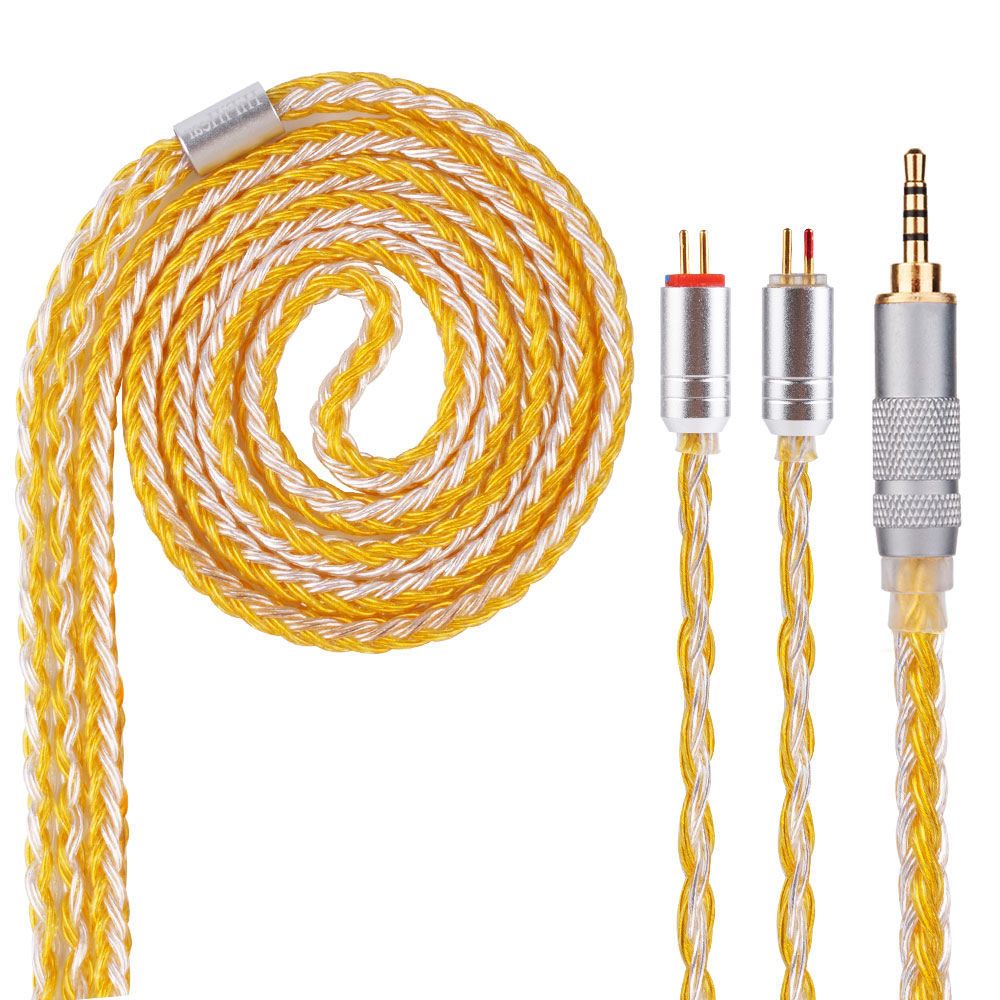 AK Newest HiFiHear 16 Core Yellow Silver Plated Cable 2.5/3.5/4.4mm Balanced Cable With MMCX/2pin Connector ak kinboofi 16 core silver plated cable 2 5 3 5 4 4mm balanced cable with mmcx 2pin connector