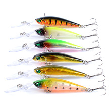 6 Pcs Fishing Lure Crankbait Minnow Wobblers 6 Colors Hard Bait Fishing Tackle 3D eyes Isca Artificial Pesca 94mm 6.2g