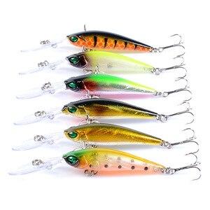 Image 1 - 6 個釣りルアークランクベイトミノー Wobblers 6 色ハード餌釣具 3D 目 Isca 人工ペスカ 94 ミリメートル 6.2 グラム
