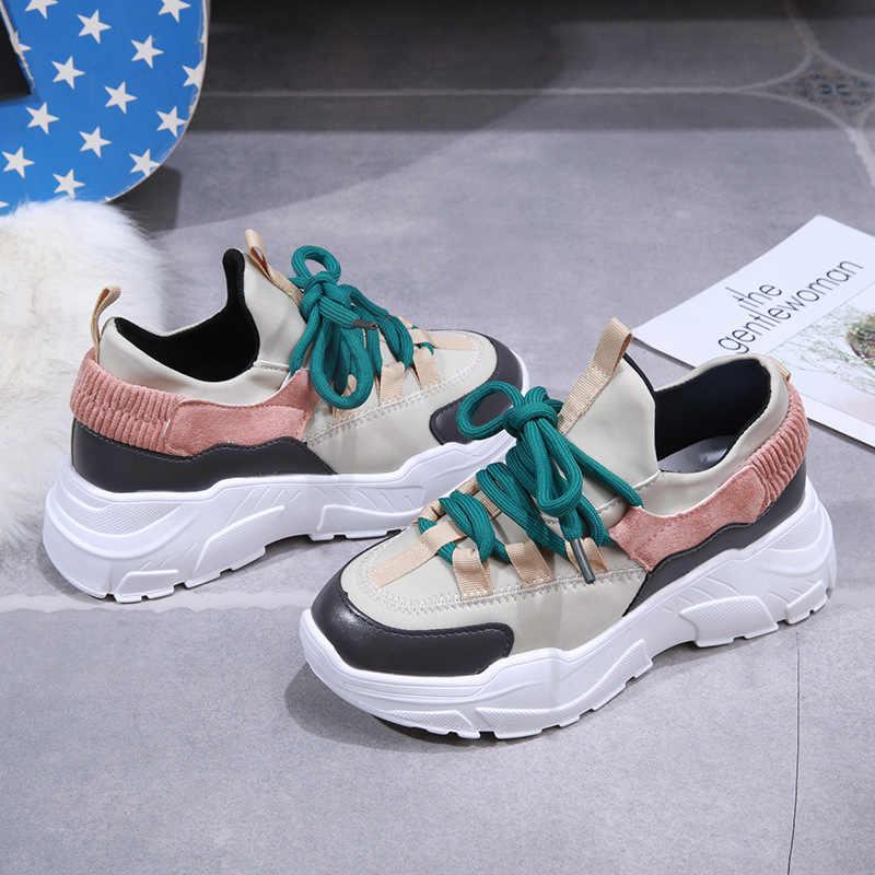 جديد منصة رياضة المرأة أنيق سميكة الوحيد احذية الجري ارتفاع زيادة 5 سنتيمتر مكتنزة أحذية رياضية امرأة Chaussure فام