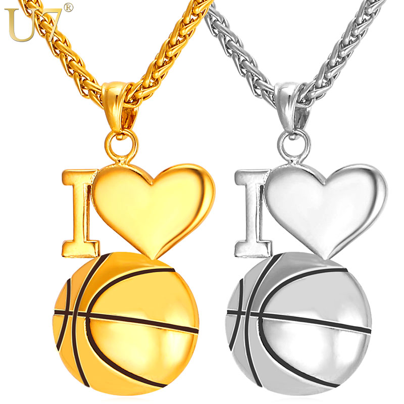 U7 I Love Basketball Necklace Gold Color 316L Stainless Steel Chain & Pendant For Men/Women Hot Sport Fashion Jewelry P910 yunruo fashion brand rose gold silver color woman jewelry flower pendant necklace 316l stainless steel bijouterie high polish