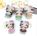 Cute Bling Kitty Love Monchichi Keychain Pendant For Bag Handbag Purse Backpack Car Key Charms Ornament Woman's Accessory