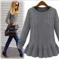 New arrival 2015 autumn and winter fashion vintage skirt twist o-neck sweater female pullover sweater women Hot sales