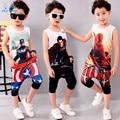 Crianças 3-11 Verão Conjuntos de Roupas Meninos Roupas de Algodão Meninos Capitão América em 3d T-shirt + Calças Do Bebê menino Roupas Ternos Do Esporte 2016