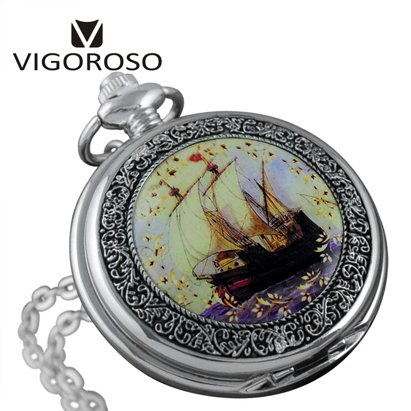 Vintage Case Quartz Pocket Watch Men Sea and Sailing Boat Watch Women Pendant Waist Chain Round Relogio Gift unique smooth case pocket watch mechanical automatic watches with pendant chain necklace men women gift relogio de bolso