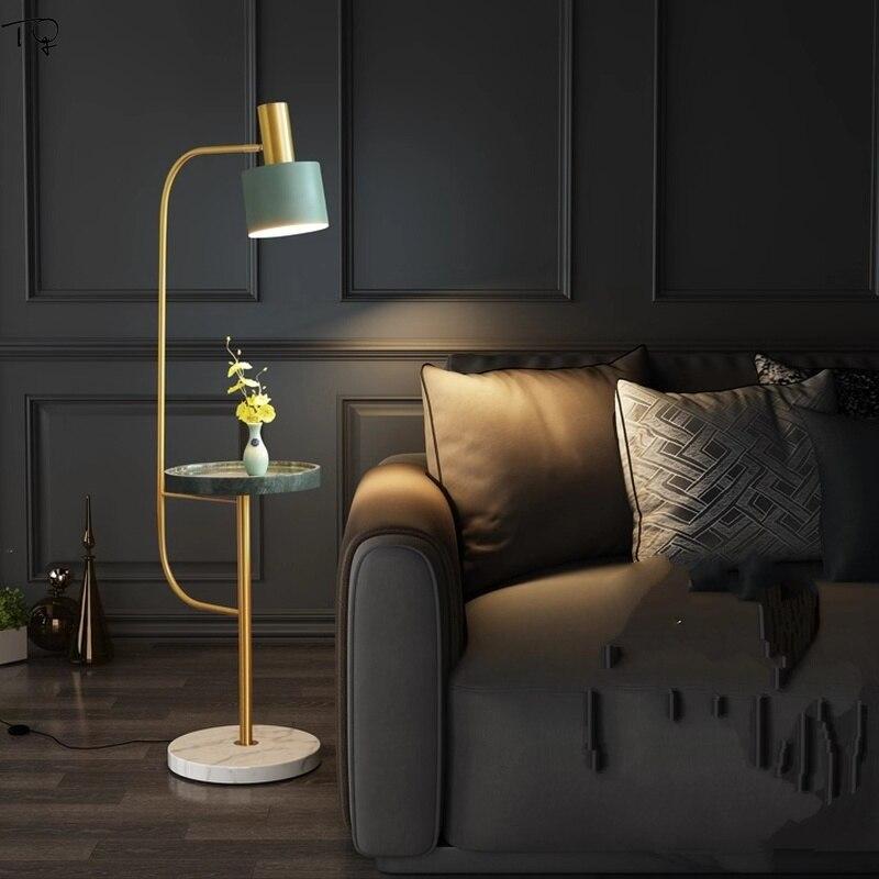Nordic Floor Lamp LED Lights Living Room Sofa Bedroom Bedside Balcony Simple American Post modern Marble Vertical Tea Table in Floor Lamps from Lights Lighting