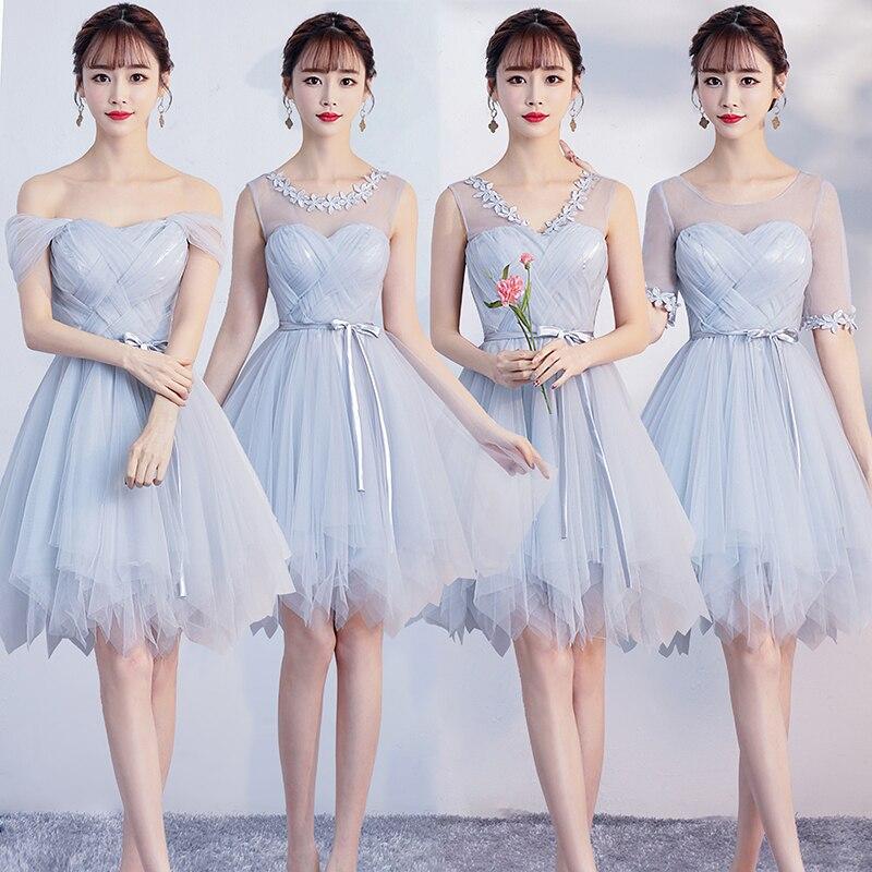 Beauty Light Grey Short Lace   Bridesmaid     Dresses   2019 One Size for Women A-Line Half Sleeve Vestido da dama de honra