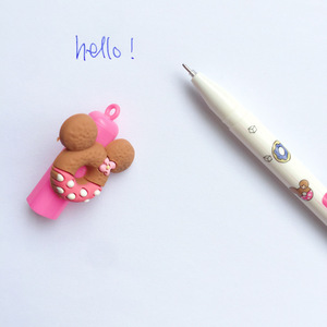 Image 5 - 30 pcs Cute bear gel pen Donuts cookie 0.5mm roller ball Blue color pens Stationery Office school supplies Canetas escolar A6440