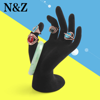 2014 New 1pcs Black Velvet Jewelry Ring Bracelet Necklace Hanging Hand Display Holder Stand Show Rack