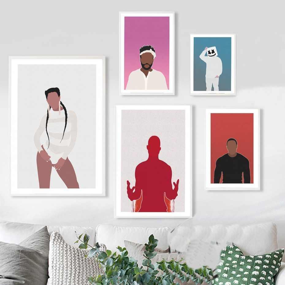 Póster Artístico sobre lienzo con imagen de DJ Marshmello DMX Dr Dre para sala de estar