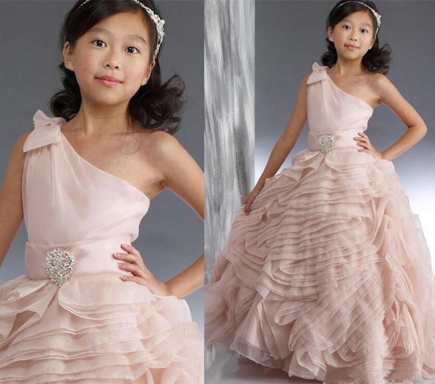 купить Princess Light Pink One Shoulder Girls Dresses Tiered Organza Floral Flower Girls Dresses for Wedding Size 2-14Y онлайн