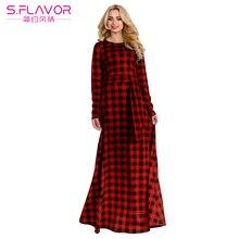 99aa563050 Kobiety Elegancki Plaid Dress Wiosna Jesień Plus Rozmiar Długa Sukienka  Kobiety Z Długim Rękawem Slim Maxi