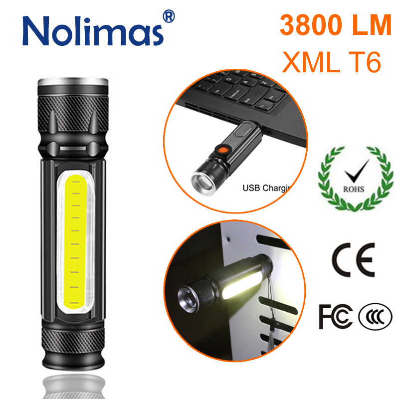2000LM XML T6+COB LED Flashlight Hand Torch USB Charge Outdoor Waterproof Lamp