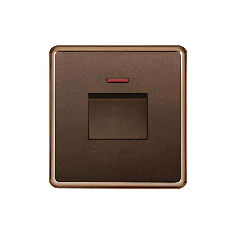 1 gang 45A New small Push button switch, Dark Champagne Gold wall switch, lamp switch With red indicator light switch 220V 16mm switch automatic reset square indicator 5a 220vac dpdt 2a 2b with led k16 282 dip8 top red colour new and original