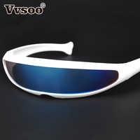 Vvsoo Futuristischen Schmale Cyclops Sonnenbrille UV400 Persönlichkeit Gespiegelt Objektiv Kostüm Brillen Brille Lustige Party Maske Dekoration
