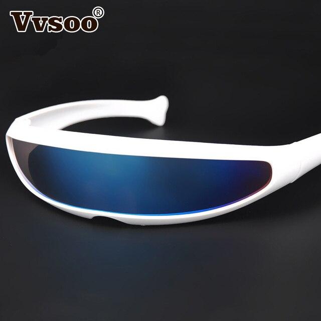 Vvsoo футуристический узкой Циклоп солнцезащитные очки UV400 личности зеркальные линзы костюм очки смешные вечерние Маска Украшения