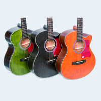 High Quality 40 Spruce Acoustic Guitar Sapele Backplate Mahogany Fingerboard Vintage Style Guitarra Matt Green Color