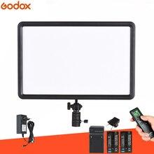 GODOX LEDP260C Panel de luz de vídeo LED, ultrafino, 30W, lámpara + KIT de batería para cámara Digital DSLR, estudio de fotografía