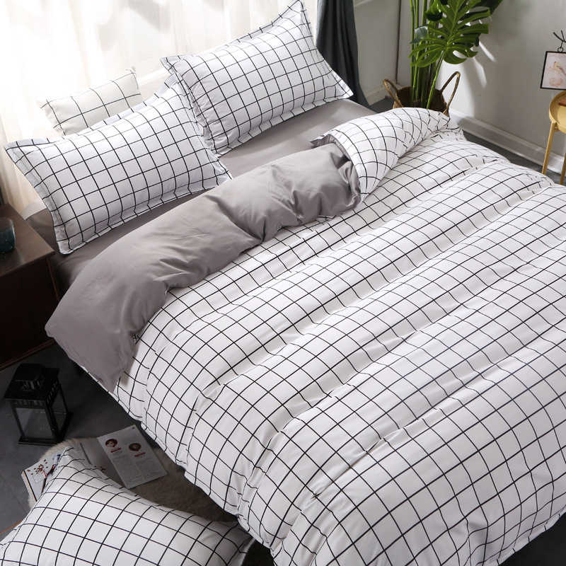 Black White Plaid/Stripe/Check Bedding Set Soft Cozy Duvet Cover