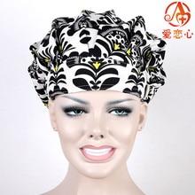 Ai Lianxin Women Bouffant Surgical Scrub Medical Chemo Hat/Cap black white ALX-160