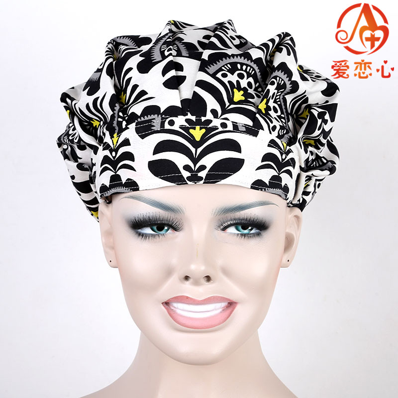 Ai Lianxin Women Bouffant Surgical Scrub Medical Chemo Hat/Cap black white   ALX-160 ai lianxin surgical bouffant caps one size adjustable animal forest alx 192