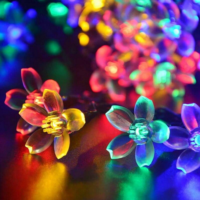 20/50 LEDs Solar String Lights Fairy Flower Blossom Outdoor Christmas Decorative Light For Indoor Garden Party Xmas Tree Decor xmas tree party decor christmas snowman hanging gift sock