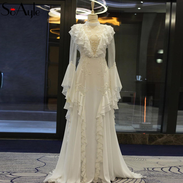 SoAyle 2018 High Neck Evening Dresses Long Sleeves Gorgeous Ruffles Women s Formal  Dresses Muslim Dresses Dubai Fashion cc245c8143d8