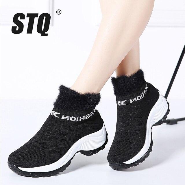 Stq 2019 겨울 여성 부츠 플랫폼 발목 부츠 여성 블랙 따뜻한 모피 허벅지 높은 양말 부츠 신발 여성 하이킹 부츠 1857