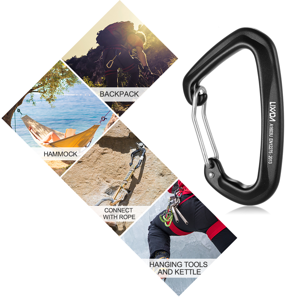 Image 5 - Lixada 28KN Wiregate Lightweight Hammock Snag Free Carabiner Steel Spring Clip D shape Carabiner Quick Clip Equipment-in Outdoor Tools from Sports & Entertainment