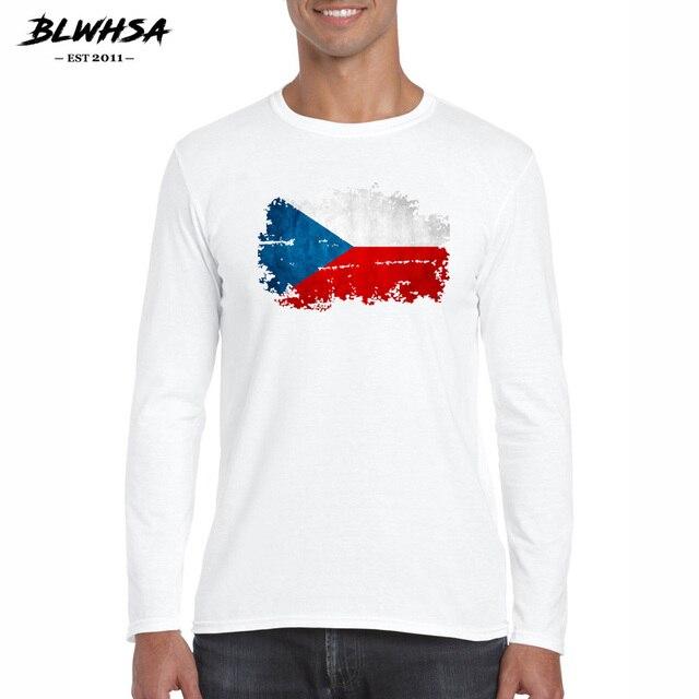 BLWHSA Newest Spring Fashion Long Sleeve Men T Shirt Czech Republic Flag Printed T-shirts White Men Tshirt Fitness Camiseta