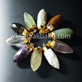 New! Natural faceted kinds stone pendants, tiger eye amethyst rose quartz amazonite stone pendants