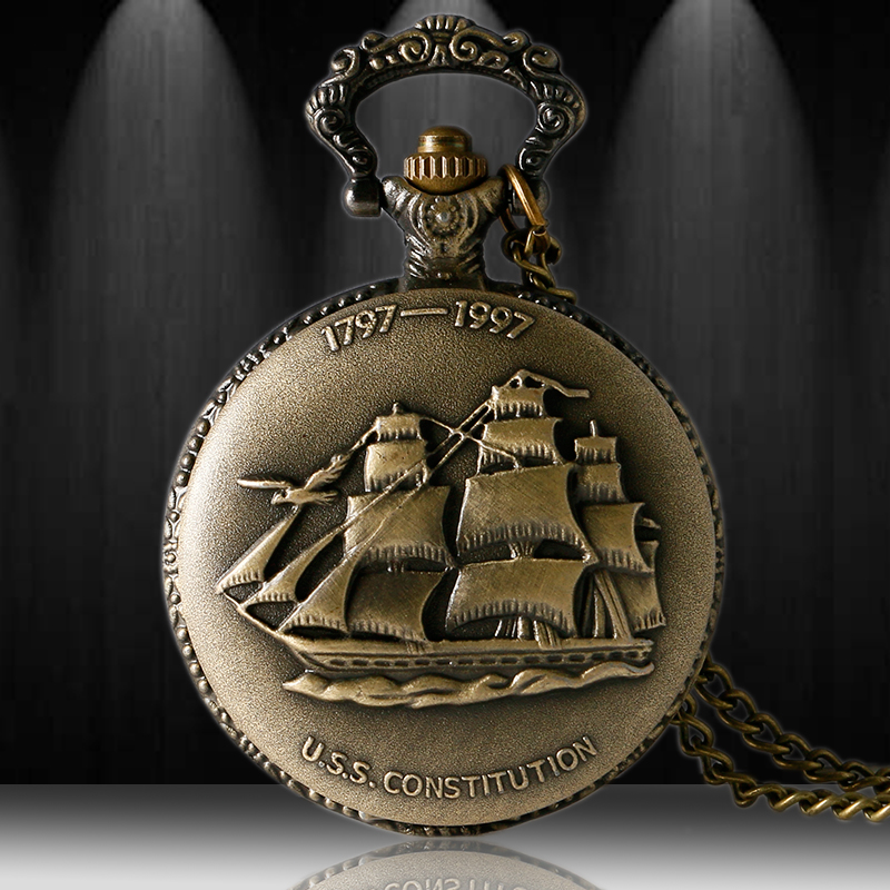 Antique Bronze 3D Sailboat Theme Quartz Fob Pendant Pocket Watch With Necklace Chain Free Shipping