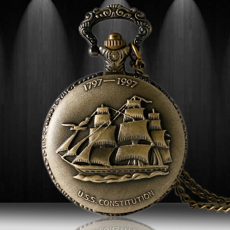 Antique Bronze 3D Sailboat Theme Quartz Fob Pendant Pocket Watch With Necklace Chain Free Shipping