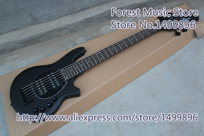 New Arrival Chinese 6 String Musicman Bongo Electric Bass Guitar In Matte Black Free Shipping new arrival es 175 model jazz electric bass guitar 4 string bass hollow body es175 in blue 130109