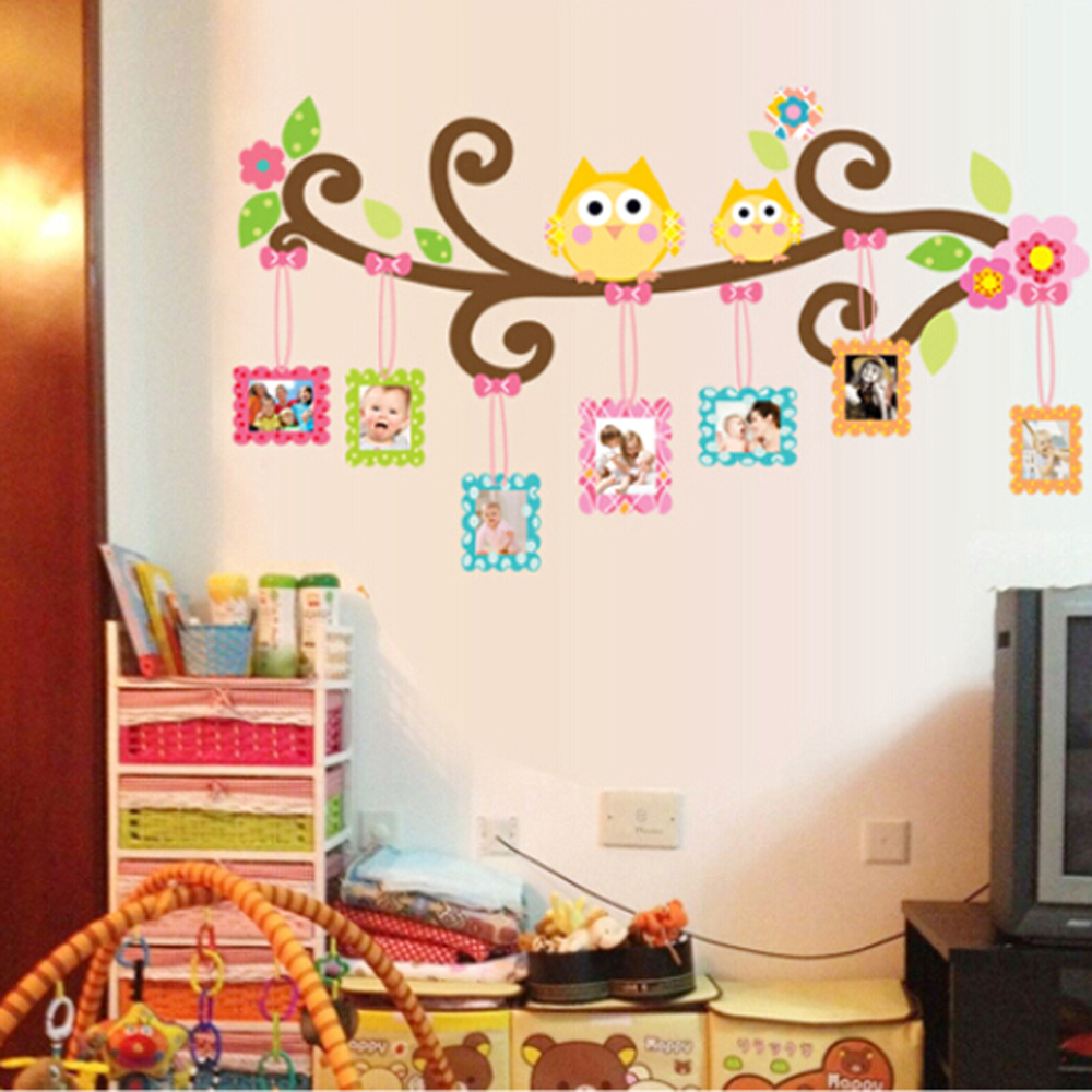 3d owl photo frame wall stickers for children 39 s room - Childrens bedroom wall stickers removable ...