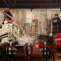 Free Shipping European Style Retro British Building Large Mural Cafe Sofa Background London Seamless Wallpaper