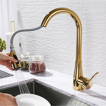SEKOVA Gold/Rose gold/Chrome/Black Plated Brass Kitchen Faucet Single Handle Deck Mounted Rotation Sink Pull Out Water Mixer Tap