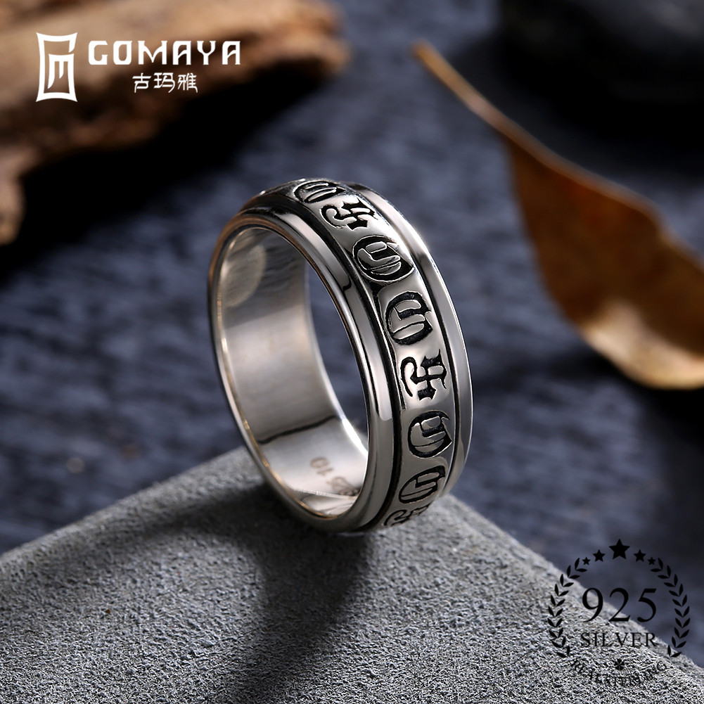 GOMAYA Womens Rings Gothic Vintage Rock Punk Cocktail Jewelry 925 Sterling Silver Wholesale Halloween Gift for