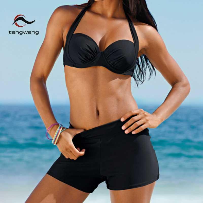0e9828ec679e8 2018 New Sexy Women Halter Tankini Swimwear Two Piece Plus size Swimsuit  Shorts Push up Female