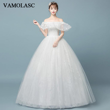 VAMOLASC Boat Neck Lace Flowers Appliques Ball Gown Wedding Dresses Off The Shoulder Backless Bridal Gowns