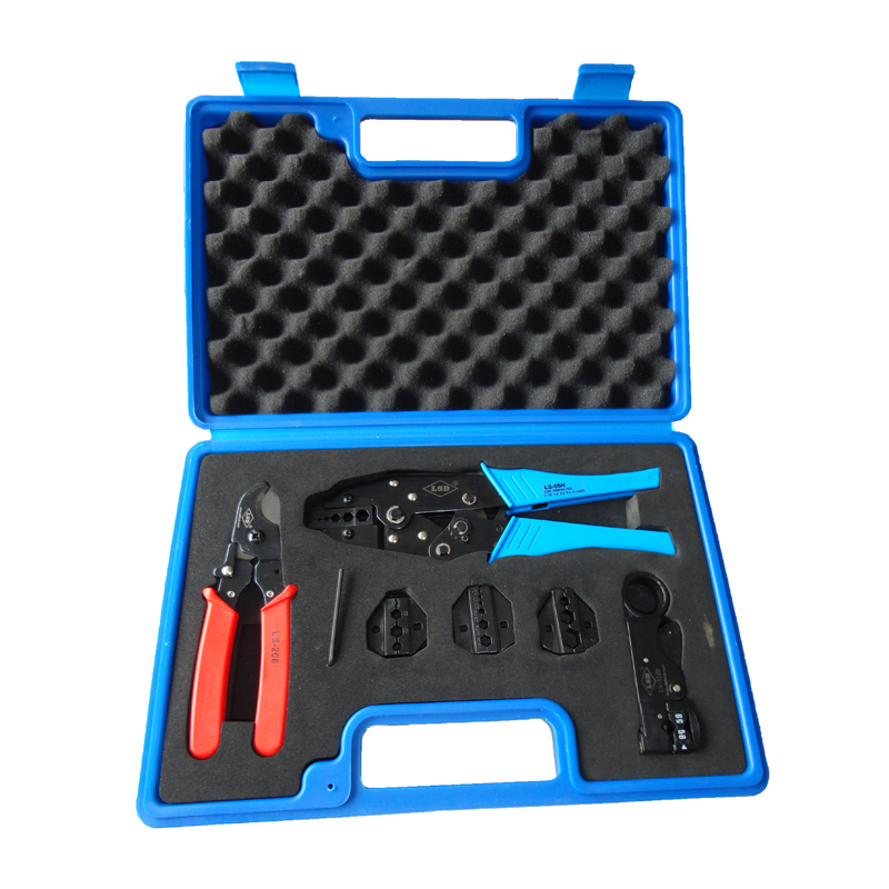 LS-05H-5A2 Crimping hand tool set with cable cutter & 4 replaceable dies,for crimp coaxial terminal,ferramenta,BNC RG connectors favourite бра picturion