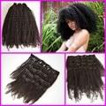 7 шт. за комплект, 4a / устанавливает-4b / 3c афро странный фигурные малайзии девственные волосы странный kurly клип в наращивание волос, Клип натуральных волос - ins утки