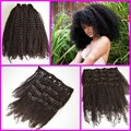 7Pcs per set,4a/4b/3c afro kinky curly Malaysian virgin hair kinky kurly clip in hair extensions,natural hair clip-ins wefts
