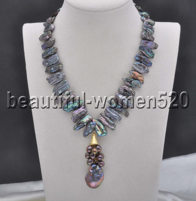 Z7970 18mm Black Dens Biwa Pearl keshi pearl Necklace Pendant 17inch