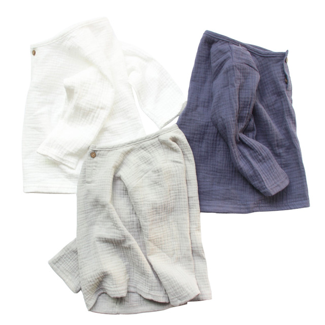 simple Cotton linen girls boys   shirts   1 - 8 yrs baby boys summer kids clothes Casual children's   blouse   white button tops
